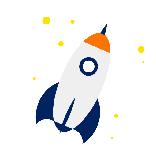 Rakete gelbe Sterne